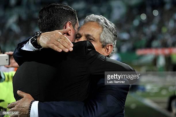 Reinaldo Rueda coach of Atletico Nacional celebrates his team's victory after a second leg final match between Atletico Nacional and Independiente...
