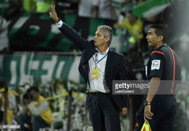 Reinaldo Rueda coach of Atletico Nacional gives instructions to his players during the Final second leg match between Atletico Nacional and Deportivo...