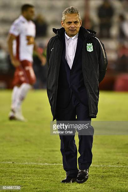 Reinaldo Rueda coach of Atletico Nacional looks on during a first leg match between Huracan and Atletico Nacional as part of round of sixteen of Copa...