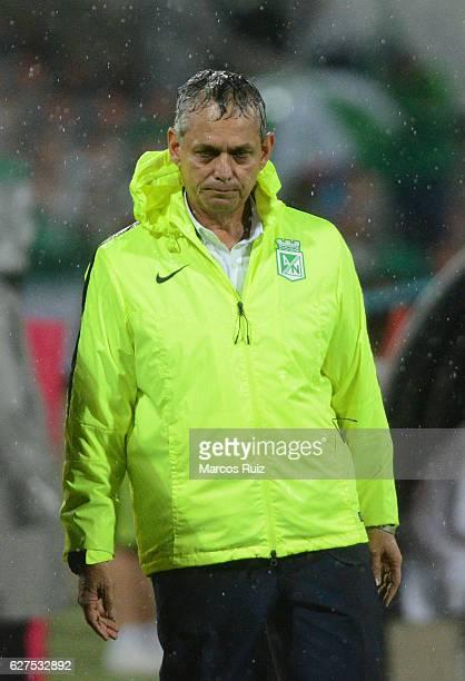 Reinaldo Rueda coach of Atletico Nacional walks during a match between Millonarios and Atletico Nacional as part of the Liga Aguila II 2016 at...