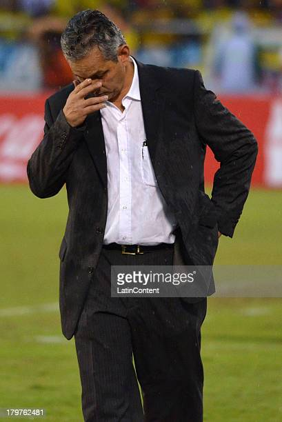 Reinaldo Rueda coach of Ecuador reacts during a match between Colombia and Ecuador as part of the 15th round of the South American Qualifiers at...