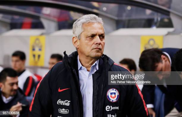 Reinaldo Rueda head coach of Chile during the International Friendly match between Sweden and Chile at Friends arena on March 24 2018 in Solna Sweden