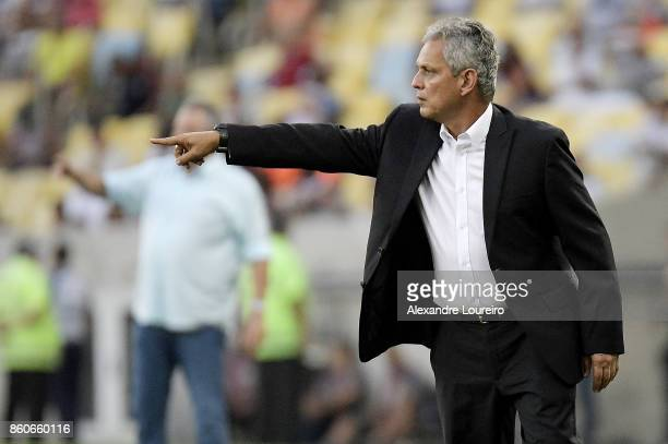 Reinaldo Rueda head coach of Flamengo reacts during the match between Flamengo and Fluminense as part of Brasileirao Series A 2017 at Maracana...
