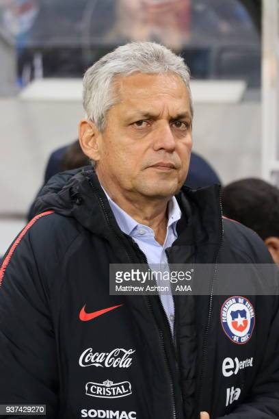 Reinaldo Rueda the head coach / manager of Chile during the International Friendly match between Sweden and Chile at Friends arena on March 24 2018...