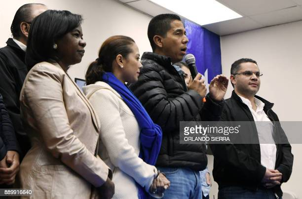 Reinaldo Sanchez Rivera the president of the ruling National party delivers a press message in Tegucigalpa on December 10 2017 Honduras's President...