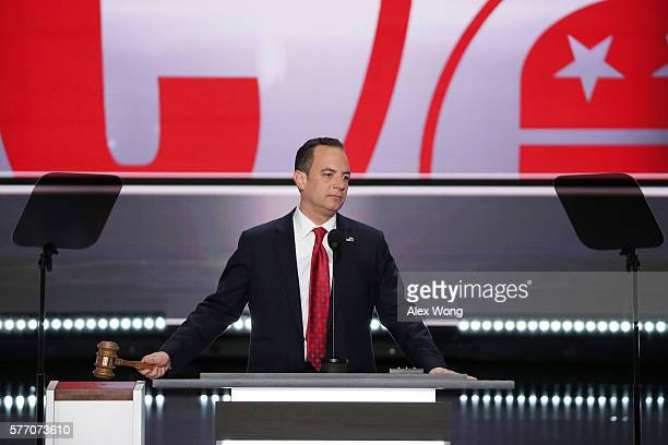 Reince Priebus chairman of the Republican National Committee bangs the gavel to officially open the first day of the Republican National Convention...