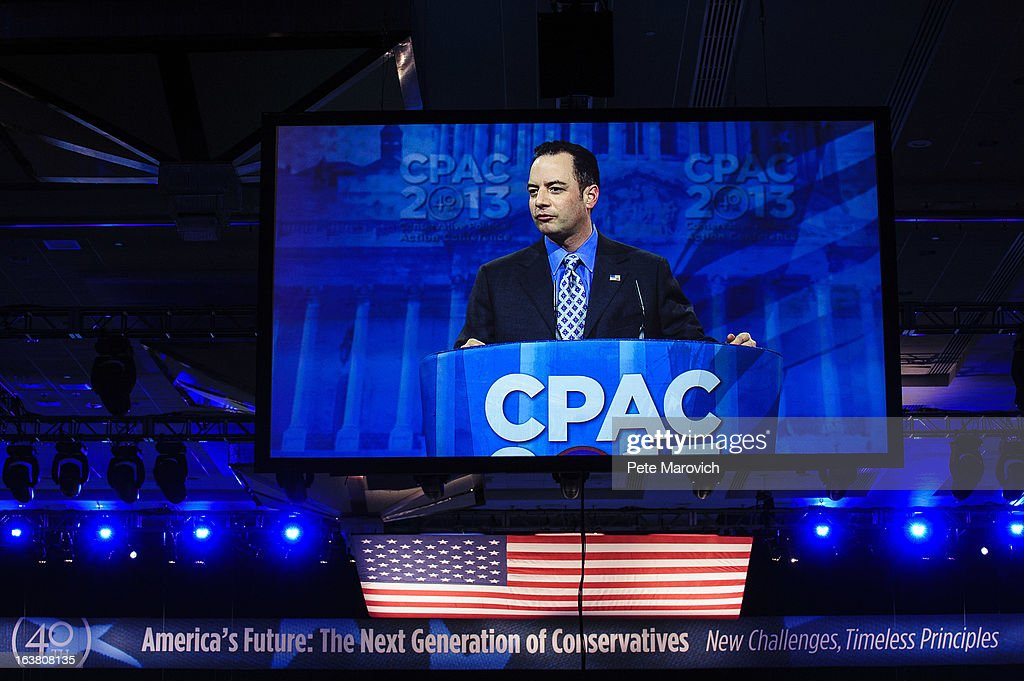 Reince Priebus, Chairman of the Republican National Committee, speaks on a screen at the 2013 Conservative Political Action Conference (CPAC) March 16, 2013 in National Harbor, Maryland. The American Conservative Union held its annual conference in the suburb of Washington, DC to rally conservatives and generate ideas.