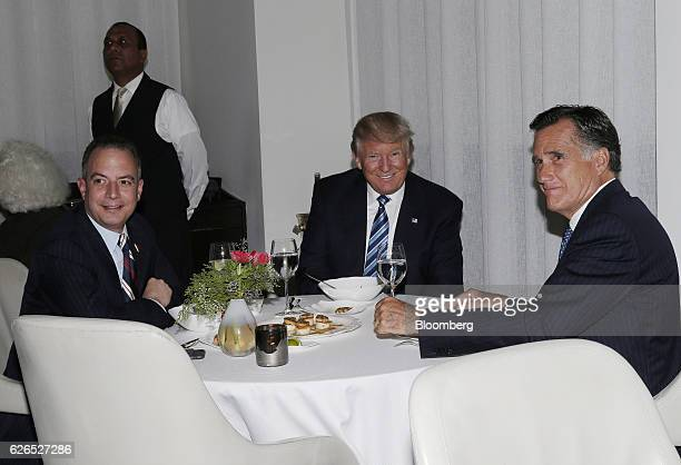 Reince Priebus White House Chief of Staffelect from left US Presidentelect Donald Trump and Mitt Romney former governor of Massachusetts dine at Jean...