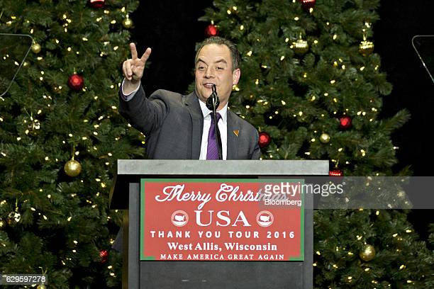 Reince Priebus, White House Chief of Staff-elect, gestures as he speaks during an event in West Allis, Wisconsin, U.S., on Tuesday, Dec. 13, 2016....