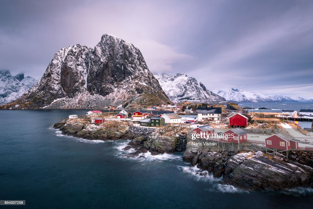 Norwegian fisherman's cabins, rorbuer located on Hamnoy island , Reine on Lofoten islands Norway.