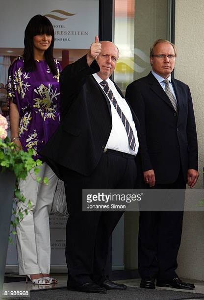 Reiner Calmund and his wife Sylvia are seen prior to the ecclestical wedding ceremony of german national player Michael Ballack and Simone Lambe at...