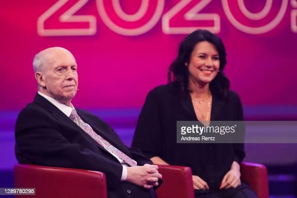 """Reiner Calmund and Sylvia Calmund speak on stage during the tv show """"2020! Menschen, Bilder, Emotionen! - Der grosse RTL Jahresrueckblick"""" on..."""