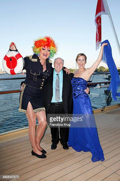 Reiner Calmund Olivia Jones and Bettina Cramer attend the christening of the ship 'Mein Schiff 3' on June 12 2014 in Hamburg Germany