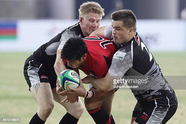 Reiner Leong of The Dragons charges forward during the World Club 10s match between The Dragons and London Welsh at the National Stadium at the...