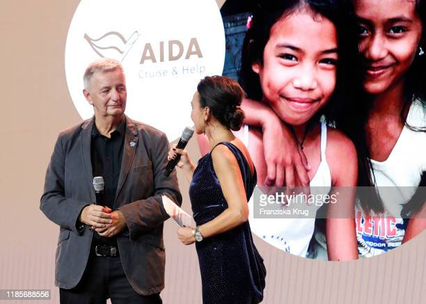 Reiner Meutsch Stiftung FLY HELP and Mary Amiri during Christening of the AIDA cruise ship AIDAmira on November 30 2019 in Palma de Mallorca Spain...