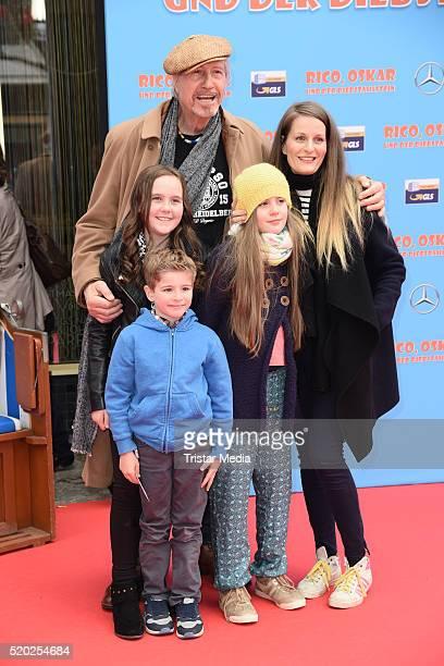 Reiner Schoene and his wife Anja Schoene with daughter CharlotteSophie Schoene and other kids attend the 'Rico Oskar und der Diebstahlstein' Berlin...