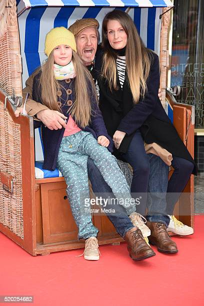 Reiner Schoene and his wife Anja Schoene with daughter Charlotte-Sophie Schoene attend the 'Rico, Oskar und der Diebstahlstein' Berlin Premiere on...
