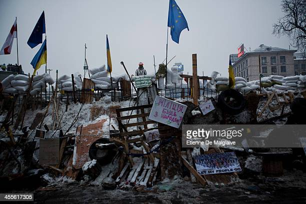 Reinforced barricade on Instytuts'ka street closes the access to Independace Square on December 12 2013 in Kiev Ukraine Thousands have been...