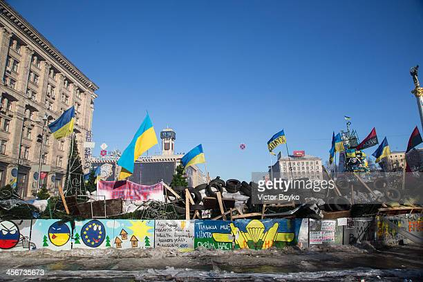 A reinforced makeshift barricade on Khreshchatyk street closes the access to Maidan Square on December 14 2013 in Kiev Ukraine Antigovernment...