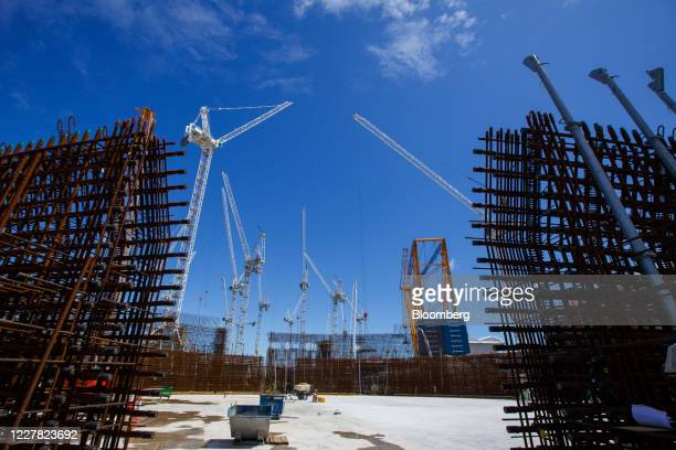 Reinforced steel bars surround Reactor Unit Two on the construction project for Hinkley Point C nuclear power station operated by Electricite de...