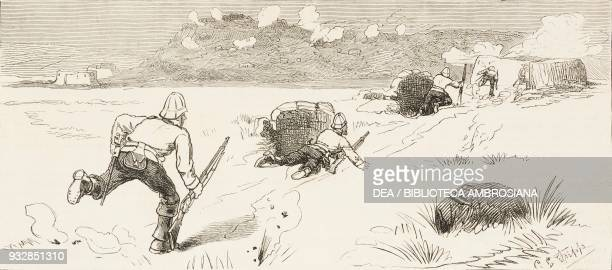 Reinforcing redoubts under fire revolt in the Transvaal South Africa from a sketch by C E Fripp illustration from the magazine The Graphic volume...