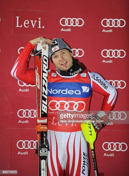 Reinfried Herbst from Austria takes 1st place during the Alpine FIS Ski World Cup Men's Slalom on November 15 2009 in Levi Finland