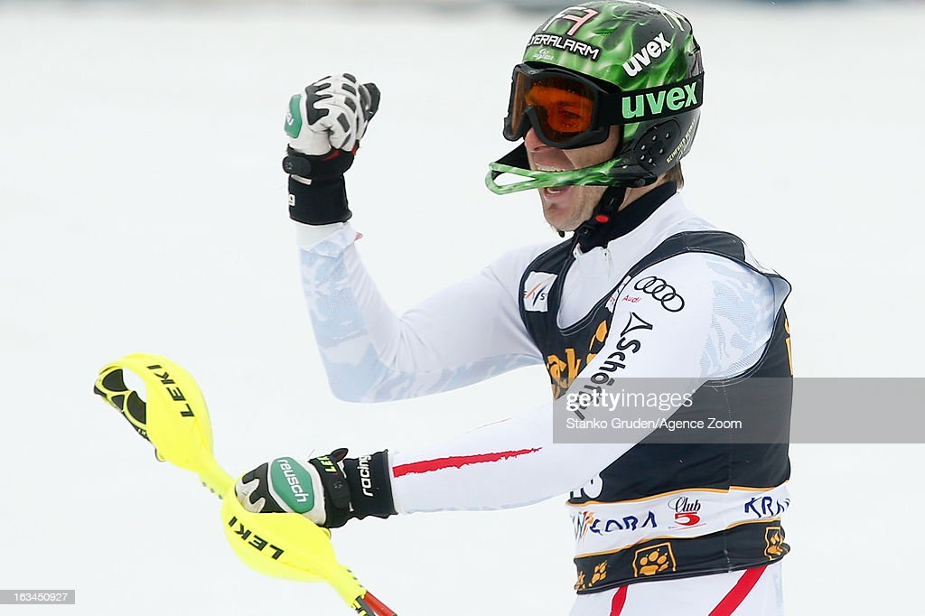 Reinfried Herbst of Austria competes during the Audi FIS Alpine Ski World Cup Men's Slalom on March 10, 2013 in Kranjska Gora, Slovenia.