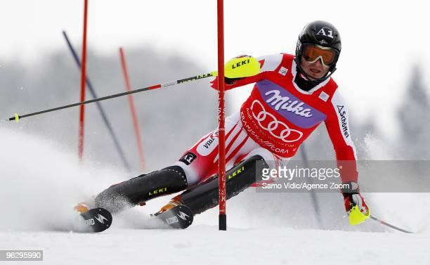 Reinfried Herbst of Austria takes 1st place during the Audi FIS Alpine Ski World Cup Men's Slalom on January 31 2010 in Kranjska Gora Slovenia