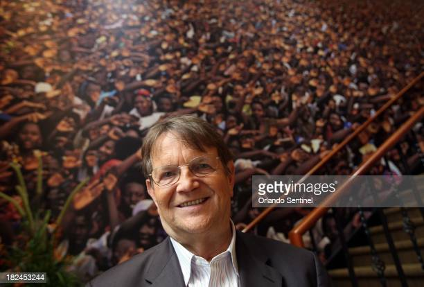 Reinhard Bonnke the international evangelist whose Christ for All Nations is based in Orlando Florida poses on September 19 in front of a photo from...