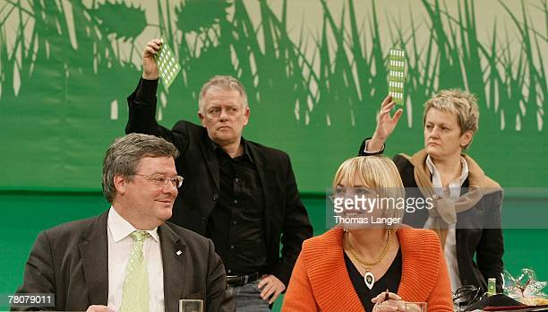 Reinhard Buetikofer Fritz Kuhn Claudia Roth and Renate Kuenast are seen during the second day of the German Green party's congress at the...