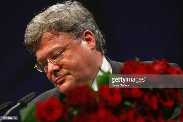 Reinhard Buetikofer outgoing Chairman of the German Greens Party gives his farewell speech at the Greens Party annual congress on November 14 2008 in...