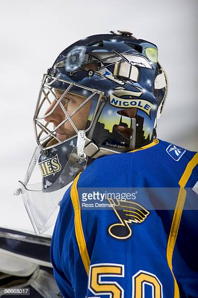 Reinhard Divis of the Peoria Rivermen looks on against the Chicago Wolves at Allstate Arena on December 11 2005 in Rosemont Illinois The Wolves won 41