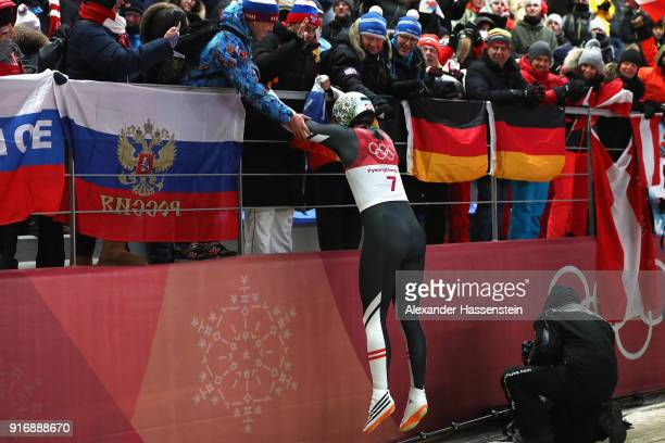 Reinhard Egger of Austria reacts following run 4 during the Luge Men's Singles on day two of the PyeongChang 2018 Winter Olympic Games at Olympic...