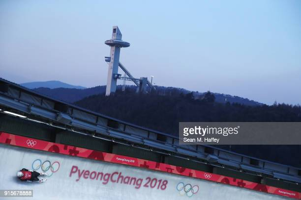 Reinhard Egger of Austria slides in a training session for the Men's Luge during previews ahead of the PyeongChang 2018 Winter Olympic Games at the...
