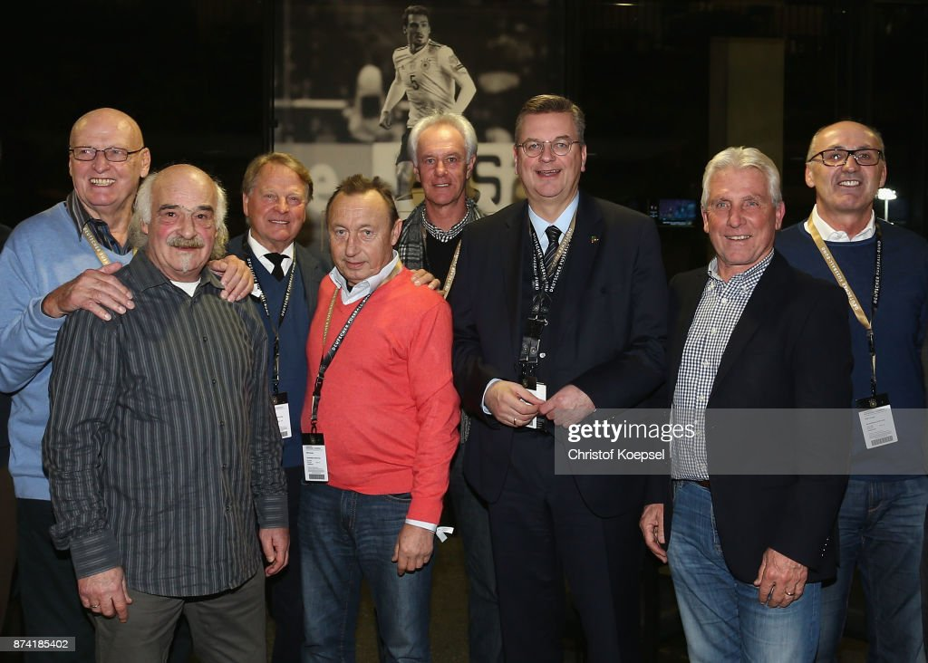 Reinhard Grindel, DFB president poses with former national players during the Club Of Former National Players Meeting at RheinEnergieStadion on November 14, 2017 in Cologne, Germany.