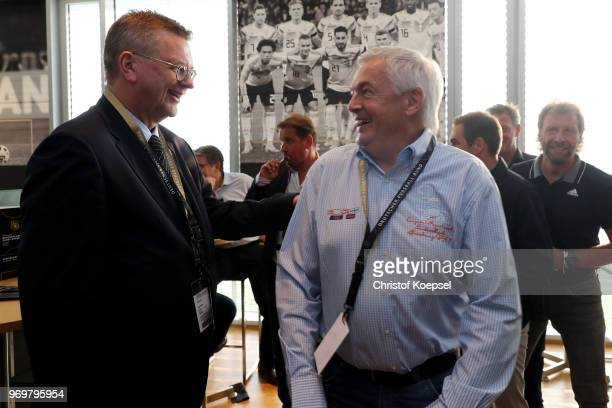 Reinhard Grindel DFB president speaks to Hannes Bongarts during the Club Of Former National Players Meeting at BayArena on June 8 2018 in Leverkusen...