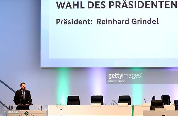 Reinhard Grindel is elected as new DFB president during day 2 of the 42nd DFB Bundestag at Messe Erfurt on November 4 2016 in Erfurt Germany