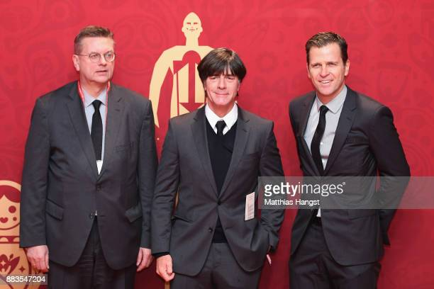 Reinhard Grindel Joachim Loew Manager of Germany Oliver Bierhoff arrive prior to the Final Draw for the 2018 FIFA World Cup Russia at the State...