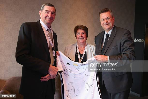 Reinhard Grindel President of Deutscher Fussball Bund DFB meets Daniel Nivel and his wife Lorette Nivel at the DFBEURO 2016Club on June 12 2016 in...
