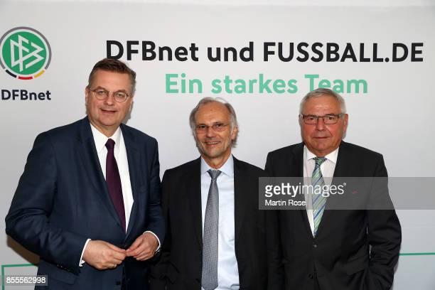 Reinhard Grindel , president of DFB poses with Kurt Gaertner and Karl Rothmund before 15th Anniversary Of DFBnet on September 29, 2017 in...