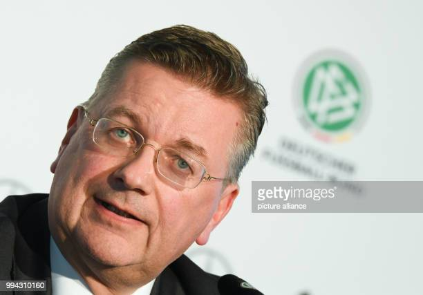 Reinhard Grindel president of the Deutsche Fussball Bundes speaking during a press conference in Frankfurt am Main Germany 15 September 2017 The DFB...