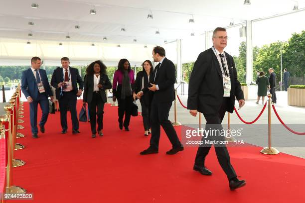 Reinhard Grindel President of the German Football Association arrives prior to the 2018 FIFA World Cup Russia group A match between Russia and Saudi...