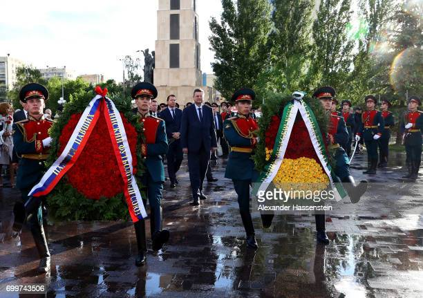 Reinhard Grindel , president of the German Football Association is seen during a wreath-laying ceremony at Park Pobedy on June 22, 2017 in Kazan,...
