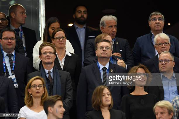 Reinhard Grindel President of the German Football Association looks on from the stands during the UEFA Nations League A group one match between...