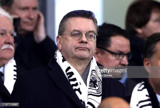 Reinhard Grindel President of the German Football Association looks on from the stands during the International Friendly match between Germany and...