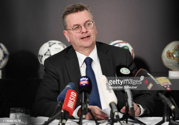 Reinhard Grindel, President of the German Football Association , speaks to the media during a press conference at DFB Headquarter on April 02, 2019...