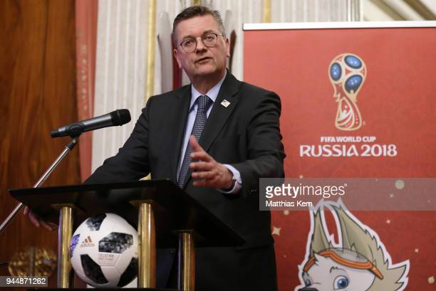 Reinhard Grindel president of the German Football Federation holds a speech during a Russia 2018 Organizing Committee press conference at the Embassy...