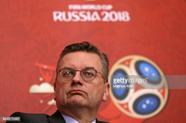 Reinhard Grindel president of the German Football Federation looks on during a Russia 2018 Organizing Committee press conference at the Embassy of...