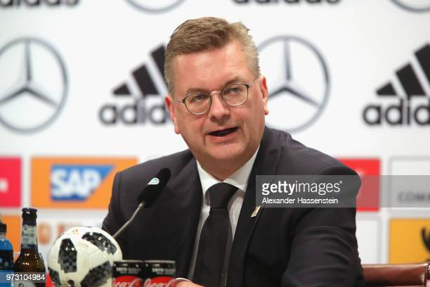 Reinhard Grindel President of the Germany Football National Federation talks to the media during the Germany press conference ahead of the 2018 FIFA...