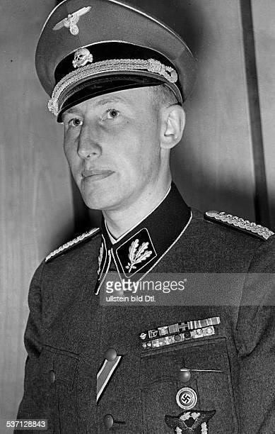 Reinhard Heydrich Reinhard Heydrich Politician Nazi Party Germany SS officer portrait of Heydrich in an SS uniform